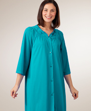 Shadowline Plus Size Petals 3/4-Sleeve Waltz Robe - Teal
