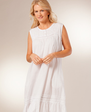 White Cotton Nightgown by La Cera - Sleeveless Gown in Pearl Innocence