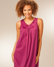 Sleeveless Shadowline Petals Waltz Nightgown in Wine