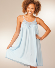 Short Shadowline Beloved Sleeveless Nightgown - Soft Blue