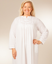 Cotton Pintucking Delight Nightshirt - Plus La Cera White Cotton Gowns