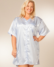 Plus Short Sleeve Satin Charmeuse Boyfriend Sleepshirt - Periwinkle