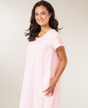 La Cera Short Sleeve Cotton Mid-Length Gown in Butterfly Dreams - Pink