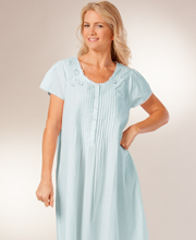 La Cera Plus Size 1X-4X Cotton Nightgown - Short Sleeve in Blue