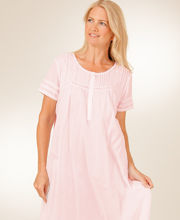 La Cera Cotton Short Sleeve Nightgown in Pearl Innocence - Pink