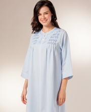 Miss Elaine Zip Robe - Seersucker Smocked Long Robe in Blue Stripe