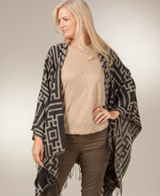 Women's Poncho Wraps - Fringed Shawl in Mykonos Tan