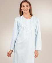 Miss Elaine Brushed Back Satin Nightgown - Yoked Bodice Blue Jacquard