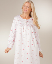 Brushed Back Satin Long Nightgown by KayAnna in Breezy Pink