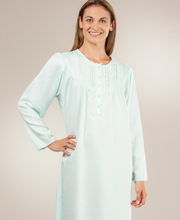 Brushed Back Satin Miss Elaine Nightgown - Yoked Bodice Mint Jacquard
