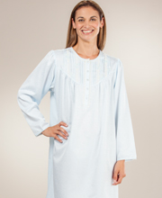 Miss Elaine Short Nightgowns - Brushed Back Satin Waltz Jacquard Gown in Blue