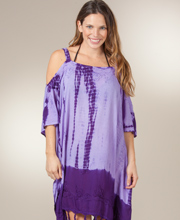 Beach Dress - Cold Shoulder One Size Beach Cover Up In Purple Tie-Dye