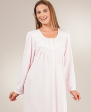 Miss Elaine Nightgowns - Cuddleknit Embroidered Rounded Neck Long Gown in Pink