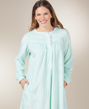 Women's Lanz Nightgowns - Round Neckline Cozy Fleece Gown in Mint Dot