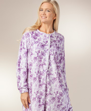Lanz of Salzburg - Nightgowns Round Neckline Microfleece Gown in Purple Roses