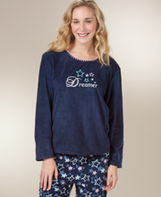 Womens Pajamas - Fleece Pajamas in Long Sleeve - Long PJs in Starscape