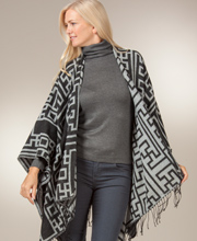 Poncho Wraps for Women - Reversible Fringed Shawl in Mykonos White