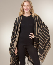 Fringed Poncho Shawls for Women - Striped Poncho Wrap in Hacienda Tan