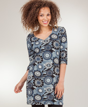 Knit Tunic - Lightweight V-Neck Sweater Dress In Daisy Gray