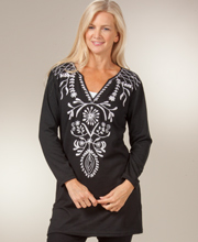 Plus Sweater Tunic - Long Sleeve V-Neck Knit Dress - Black Intrigue
