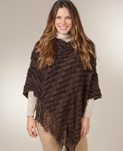 Sweater Ponchos for Women - Traditional Knitted Poncho in Chocolate Panache