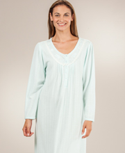 Miss Elaine Nightgowns - Cuddleknit Scoop Neck Ballet Night Gown - Aqua