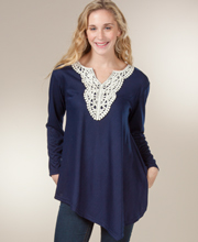 Tunic Top - Long Sleeve Crocheted Neckline Knit Top - Navy