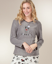 Fleece Pajamas - Women's Long Sleeve Microfleece PJs in Ruff Night