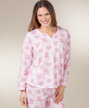 Cotton-Rich Pajamas - Long Sleeve Knit Pajama Set in Porcelain Pink