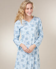 Sleepshirts for Women - Cotton-Rich Long Sleeve Gown - Porcelain Blue