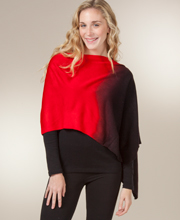 Knitted Poncho Shawls - Women's Ombre One Size Shawl in Cherry Cream
