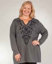 Plus Tunics - Long Sleeve V-Neck Plus Sweater Dress - Gray Intrigue