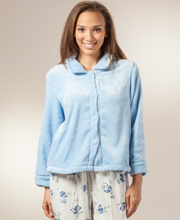 Bed Jackets by KayAnna - Velvety Plush With Peter Pan Collar In Blue