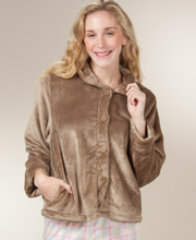 Kayanna Bed Jackets - Peter Pan Collar In Velvety Plush - Cocoa