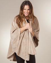 Natori Loungewear Wrap - Women's Cozy 100% Polyester Cape in Champagne