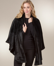 Natori Wraps - Women's Warm 100% Polyester Shawl in Black