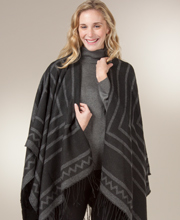 Women's Poncho Wraps - Fringed Striped Shawls in Hacienda Gray
