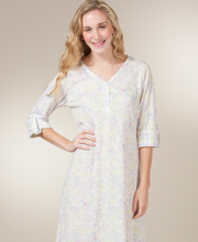 Nightshirts for Women - Roll Sleeve Cotton-Rich Gown in Lilac Garden