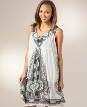 Summer Dresses - Sleeveless Rayon Short Dress In Andros
