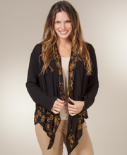 Cardigan Sweater - Long Sleeve Rayon Cardigan in Embroidered Bronze