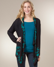 Women's Sweaters - Long Sleeve Rayon Cardigan in Embroidered Teal