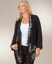 Women's Cardigan - Long Sleeve Rayon Sweater in Embroidered White