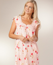 Long Nightgowns - Carole Hochman Cotton Cap Sleeve Gown in Pink Beauty