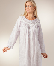Eileen West Cotton Gown - Long Sleeve Embroidered Nightgown - Lavender Ice