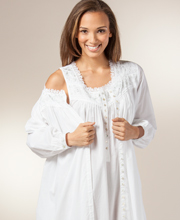 Eileen West Robe and Nightgown Set - Cotton Lawn Peignoir In Tiara