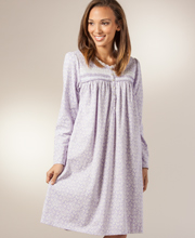 Eileen West Sleepshirt - Cotton Jersey Knit Jacquard Short Gown - Lilac Charms