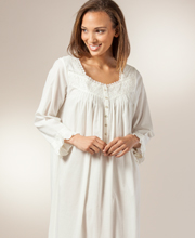 Eileen West Nightgowns - Cotton 3/4 Sleeve Nightgown - Ivory Cherish