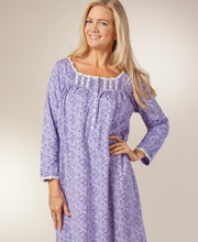 Eileen West Cotton Nightgown - Long Sleeve Jersey Knit - Violet Canopy