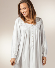 Eileen West Long Sleeve Mid-Length Brushed Nightgown in Country Cozy