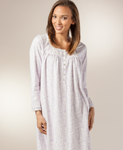 Eileen West Nightgowns - Cotton Knit Long Sleeve Gown - Lavender Vine